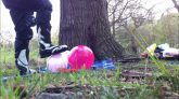 Balloon-stomping-in-the-forest