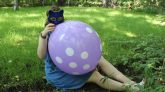 Blowing-purple-Gemar-punchball-with-polka-dots-no-pop