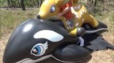 Riding-Inflatable-Deer-on-a-Giant-3-Meter-Whale-Toy