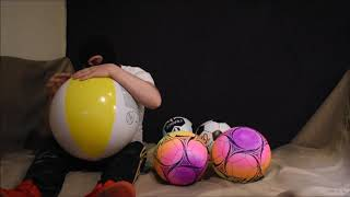 Popping-sport-balloons-and-a-beachball