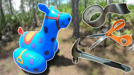 Reinforcing-an-Inflatable-Toy-a-Blue-Rocking-Horse